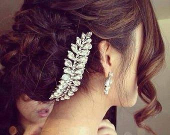 Bridal headpiece, Bridal halo for updo, Wedding Headpiece, Wedding Headband, Silver Bridal Headpiece, Bridal hair accessories, Back of head