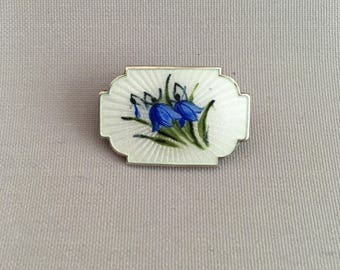 Antique Stirling Silver and Enamel Blue Bell Brooch made in Norway