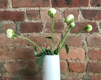 White Stoneware Cylinder Matte White Vase with Pink Interior