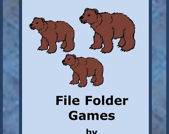 Teaching Materials, Instant Printable, Back to School, Home School,Brown Bear File Folder Game PK-K,Special Education, Autism.