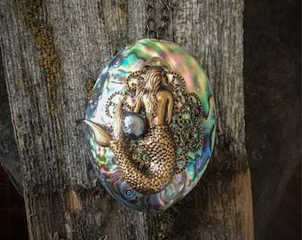 Paua Shell Necklace, Mermaid Necklace, Moana Necklace, Mother of Pearl Necklace, Abalone Necklace, Boho Mermaid Necklace, Mermaid and Shell