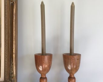 Vintage Wooden Candlesticks Set of Two