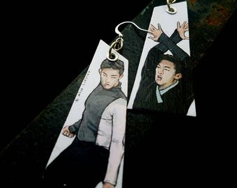 Nathan Chen, Quad King -Figure Skating Sports hand-painted earrings