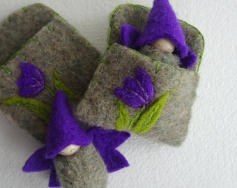Flower Fairy in Tulip Pouch, Made to Order, Spring Toy, Easter, Waldorf Gnome Baby, Snowdrop Flower, green, Purple, wings, eco toy