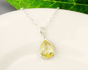 Yellow Citrine Necklace - Yellow Bridesmaid Necklace - Silver Yellow Glass Pendant Necklace - Wedding Jewelry - Bridesmaid Jewelry