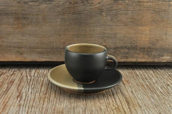 Two-tone satine glaze stoneware espresso / tea cup and saucer
