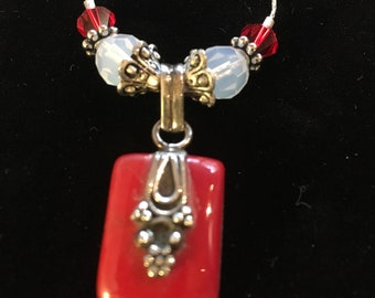 Spectacular swarowski crystal and silver pendant necklace