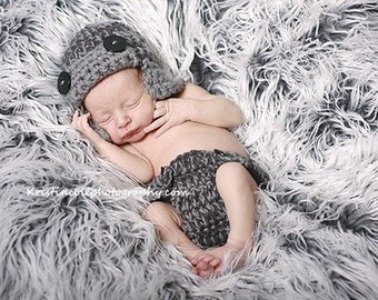 Aviator Hat and Diaper cover Newborn Photo prop Gray Grey 2pc Photography Set all Babies Infant Girl Boy Photo Shoot Available more colors