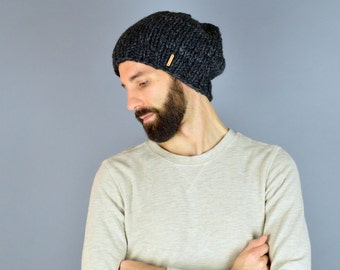 Chunky Knit Men's Slouch Hat Beanie // The SEATTLE // Charcoal