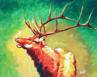 Elk Portrait 11x14 original acrylic painting on canvas, colorful animal wall art with bright colors and abstract strokes