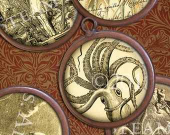 1 inch Circles - Hard-to-Find Victorian Steampunk Images - Kraken, Airships, etc. Digital Collage Sheet - Instant Download