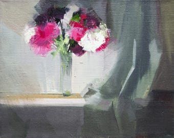 Flower Oil Painting, Small Oil Art, Pink Peonies, White Floral Painting, Still Life Painting with Flowers