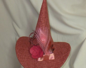 Peachy Pink Boucle Witch Hat- Fancy Witch Hat with Flower, Bow, and Feathers- Salem Witch- Elegant Witch- Fancy Witch