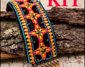 Aztec Cuff bracelet KIT bead embroidery and beadweaving- bright colors
