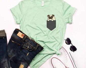 Pug Pocket T-shirt, Pocket Dog Shirt, Pug Tshirt, Funny Cute Dog Shirts, Women T shirt Dog Pug Gifts