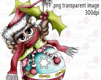 Twiggy & Toots Owl Kerstmis bauble zwart-wit digitale stempel