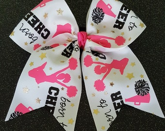 Born to Cheer Bow white with pink, black and gold