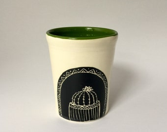 Handmade Cactus Pottery Cup Tumbler