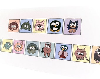 Happy Birthday Card - Cryptic Animals - puzzle card with message spelt out using cute cartoon creatures, say it with animals