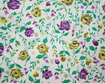 50s Floral Cotton Fabric - 2.86 Yards x 35.5 Inches - Purple & Yellow Roses - Daisy Flowers - Jade Green Leaves - Sweet For Summer - 42781