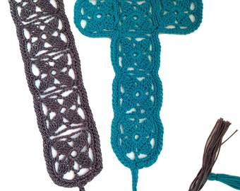 Instant download - Crochet PATTERN (pdf file) – Dogwood Motif and Cross Bookmark Pattern and Tutorial