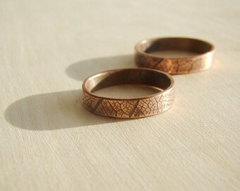 His & Hers Promise Rings Couple Ring Set Personalized Ring Set. Rustic Leaf Organic Modern Engagement Ring, Copper Wedding Band