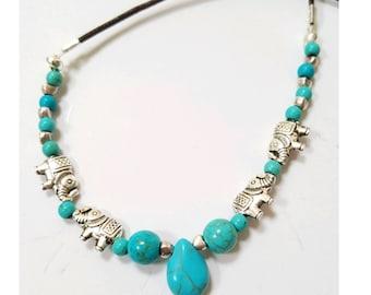 Elephant necklace, turquoise elephant necklace, elephant jewelry, turquoise jewelry, boho elephant jewelry, leather boho necklace, elephants