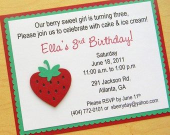 Strawberry Birthday Party Invitation ~ Red and Green
