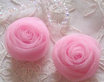 2 Organza Rolled Roses Chiffon Roses Organza Roses Chiffon Flowers In Rose Pink MY-639-02 Ready To Ship