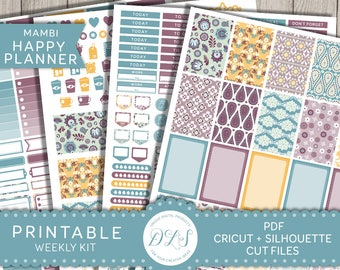 Mambi Happy Planner Stickers, Weekly Sticker Kit, Happy Planner Printable Kit, Pastel Planner Kit, Cricut, Silhouette, Mambi PDF, HP126