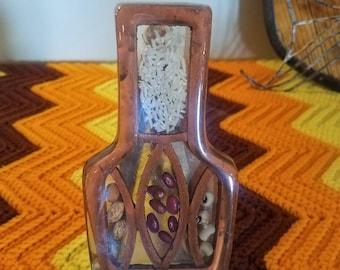 Vintage Decorative Lucite Acrylic Spoon Rest Boho Hippie Earth Folk Art Kitchen Decor