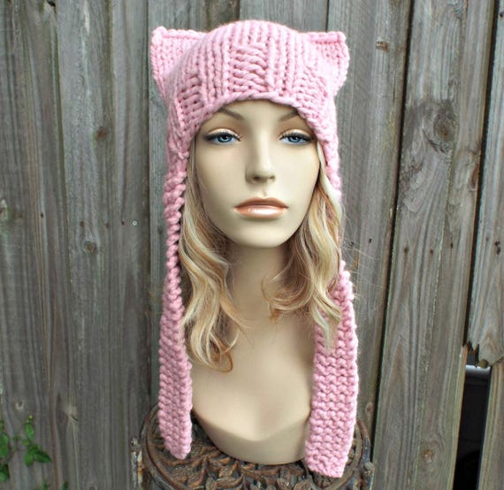Pink Pussyhat Pink Cat Hat Womens Hat - Pink Ear Flap Cat Hat - Pale Pink Ear Hat Pink Hat Pink Beanie Pink Pussy Hat