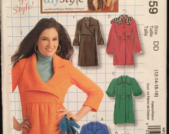 McCall's DIY Misses' Coat/Jacket Variations of Sleeves, Collars,Lengths, 2 Closure Options, Hoodie Option Size 12-18 Pattern  MP259/M5714