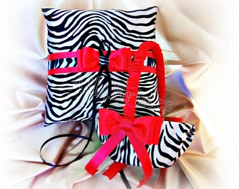 Zebra print and red wedding ring bearer pillow and flower girl basket, red and zebra print wedding accessories