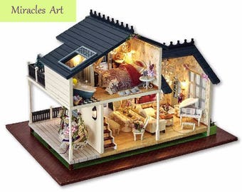 FREE Shipping!!! Furniture DIY Doll House Wodden Miniatura Doll Houses Furniture Kit DIY Puzzle Assemble Dollhouse Toys For Children