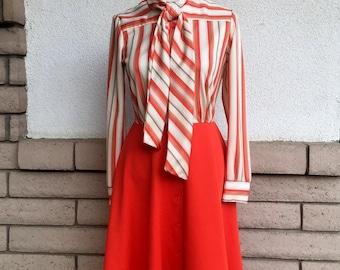 Vintage Ascot Dress 1970s Orange Striped Button Up Long Sleeve Day Dress S-M