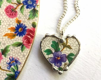 Ecofriendly recycled broken china jewelry, pendant necklace, antique chintz heart pendant, made from recycled china, Dishfunctional Designs