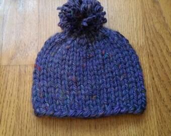 Purple Baby Pom Pom Hat