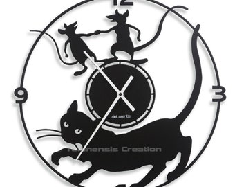 Cat clock Mistigri Metal 40 cm