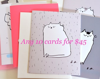MIXED CARD SET- Choose any 10 cards for 45 dollars - Cat Cards