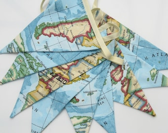 Map Fabric Bunting, Map Pennant Banner, World Map Bunting, Map  Pennants, Fabric Bunting 9 double sided Pennant Flags 8 foot long plus ties
