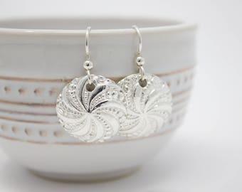"""Fine Silver Earrings """"Pinwheel"""""""