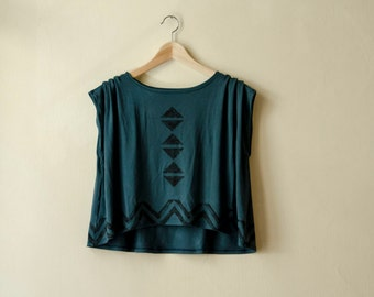 Crop Top Hand Painted Dark Green Jersey, Geometric Triangle Chevron Print, Asymmetrical Tshirt, Also available in Dusty Rose