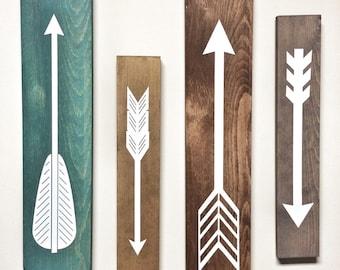 Rustic White Wooden Arrows - 4 Piece Set, Rustic Decor, Farmhouse Decor, Arrow Decor, Rustic Nursery Decor, Gallery Wall Decor, Wooden Arrow