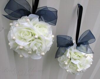 Wedding flower ball, white navy blue flower girl pomander Wedding ceremony decorations