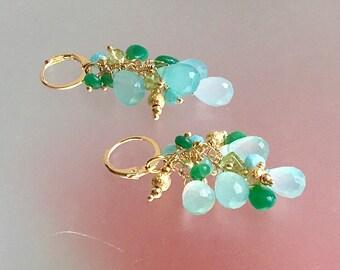 Blue Chalcedony; Green Chrysoprase; Gold Filled Cluster Earrings