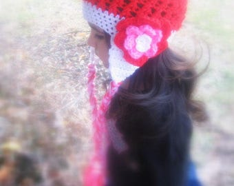 Handmade Crochet Child Earflap Hat