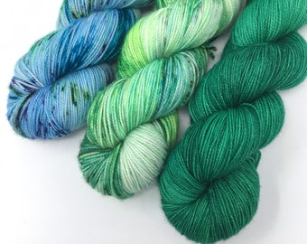 Three Color Set | Blue Green Speckles | Full Skeins | Hand Dyed Yarn | Multiple Bases | Wool Cashmere Nylon