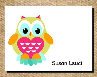 Set of Personalized Owl Folded Note Cards - Thank You Cards - Blank Cards - Brightly Colored Owl Green Pink Blue Orange Stationery