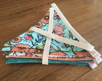 Fabric Bunting, nouveau style, party decoration, banner, garland,  long bunting